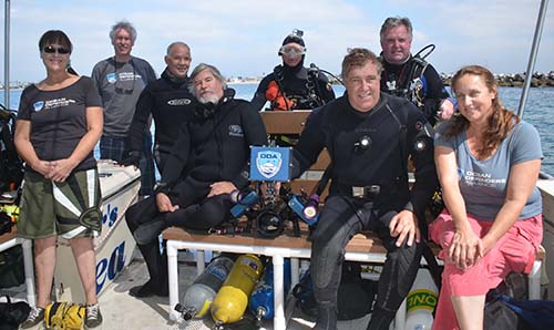 Walter Marti and crew on rear deck before dive