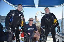 Ocean Defenders Alliance Dive Crew Al Laubenstein and Jeff Connor with Captain Kurt Lieber in the middle