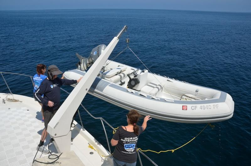 ODA volunteers loading RIB to retrieve marine debris