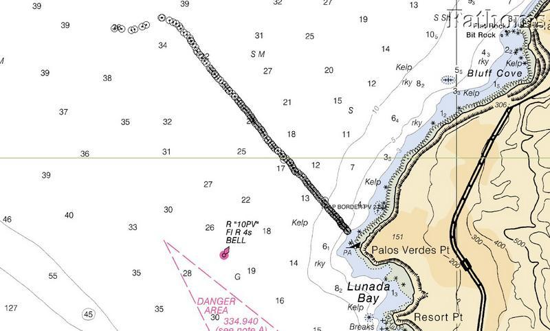 Map of lobster traps set very close together (off Palos Verdes, CA).