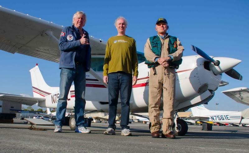Kurt Lieber, Jim Lieber, and pilot Bob Lang