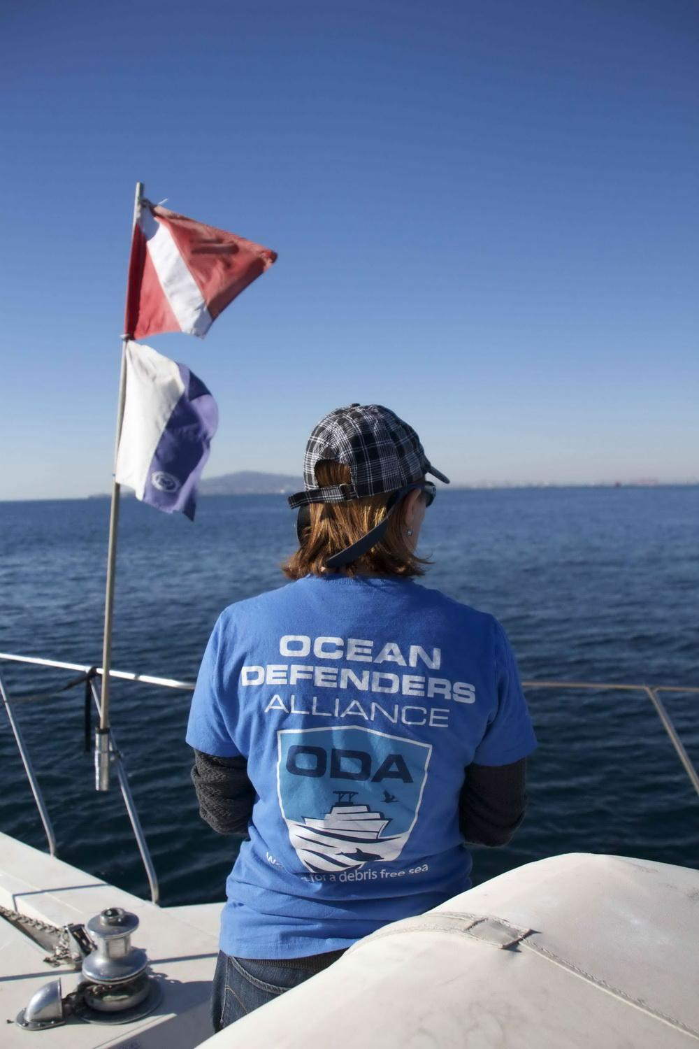 Volunteer Karla with dive flags