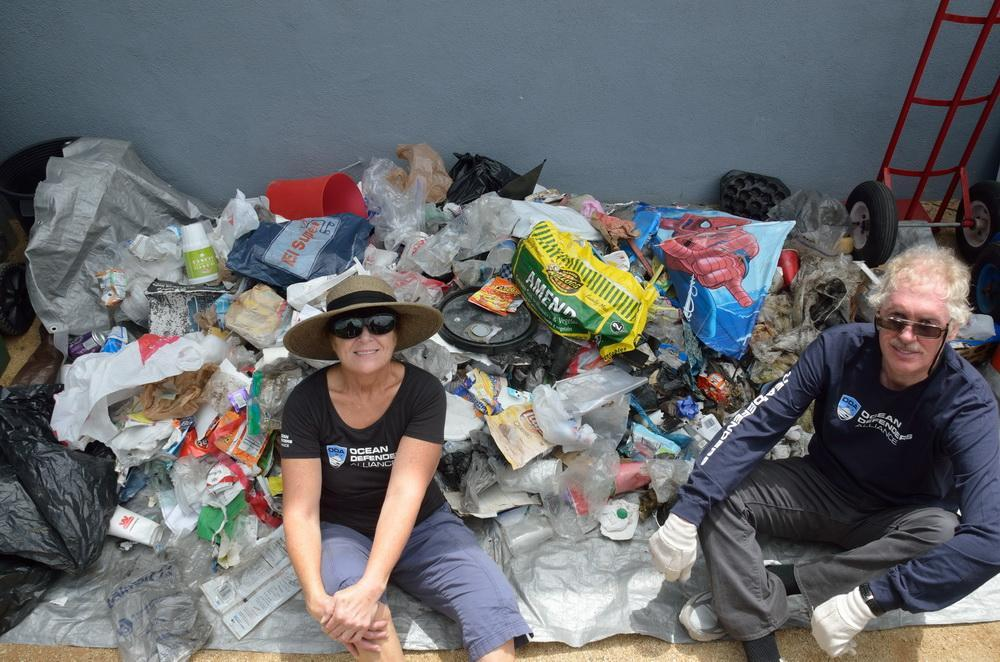 ODA Volunteers with pile of trash they collected