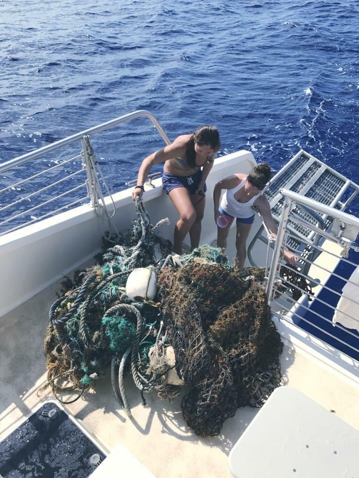 Ghost gear removed - net and line on deck