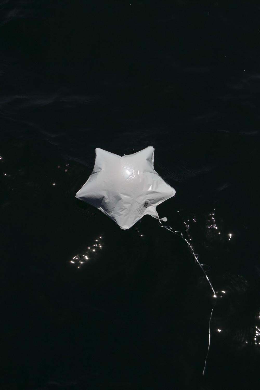 Mylar balloon debris in ocean