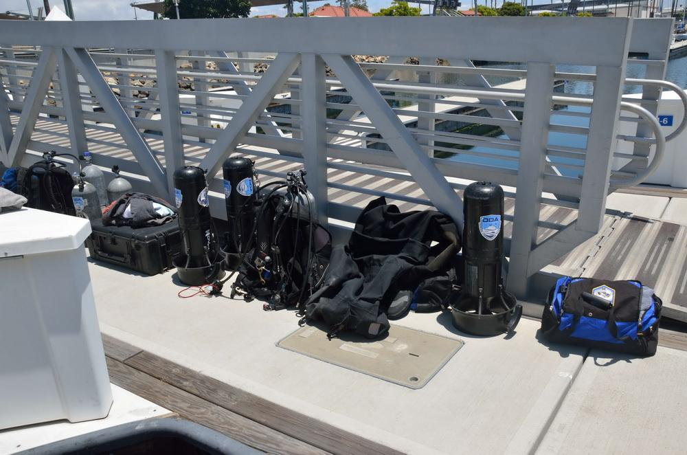 Ocean Defenders Alliance dive gear and scooters ready to go