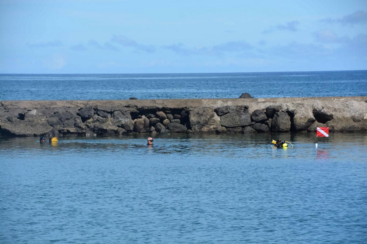 Divers at breakwall